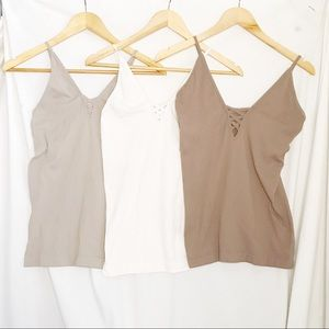 Lot of 3 Ribbed Tanks Juniors One Size Fits Most